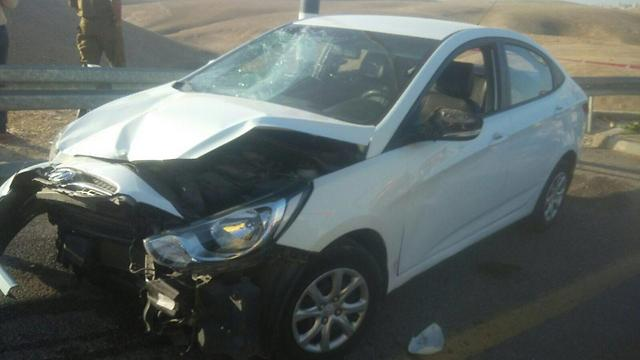 The vehicle used in the attack near Ma'ale Adumim (Photo: Police)