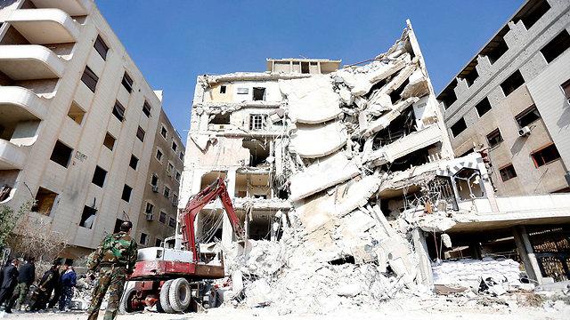 The building bombed in Jaramana in Syria, where Kuntar was hiding (Photo: EPA)