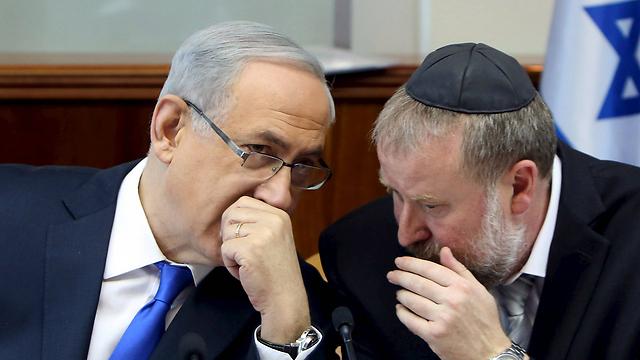 Prime Minister Netanyahu and then-cabinet secretary Avichai Mandelblit (Photo: Reuters) (Photo: Reuters)