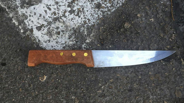 The knife used in the stabbing attack in Jerusalem (Photo: Police spokeswoman)