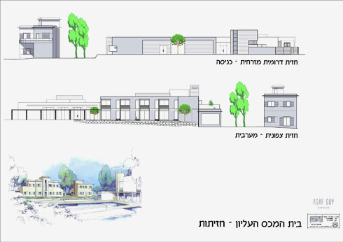 חזיתות הבניינים (תכנית: אדר' משאת כץ א.ב. מתכננים ואדר' אסף גיא)