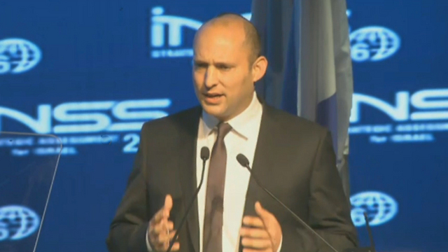 Education Minister Naftali Bennett at the INSS conference