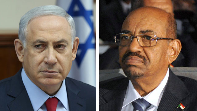 Prime Minister Benjamin Netanyahu and President Omar al-Bashir: not the most obvious of allies. (Photo: Amit Shabi, AFP)