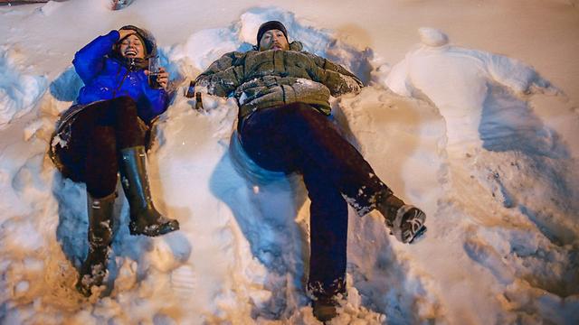 ישראלים משחקים בשלג בניו יורק (צילום:רועי בן צבי)