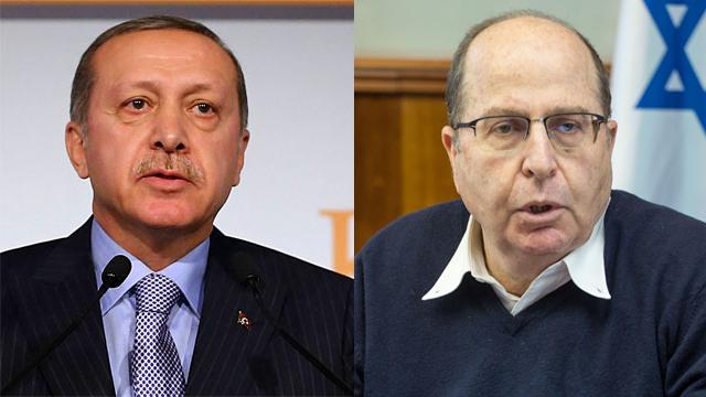 Turkish President Erdogan; Defense Minister Ya'alon (Photos: AP, Emil Salman)