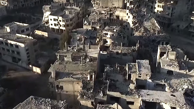 Ruins in Homs, Syria, seen from a Russian drone