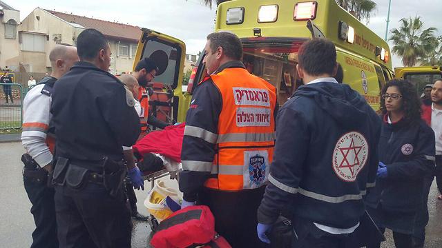 Scene of the attack in Ramla (Photo: United Hatzalah)