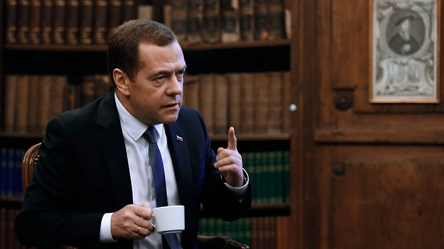 Russian Prime Minister Dmitry Medvedev giving an interview on the sidelines of the 2016 Munich Securit Conference (Photo: EPA)