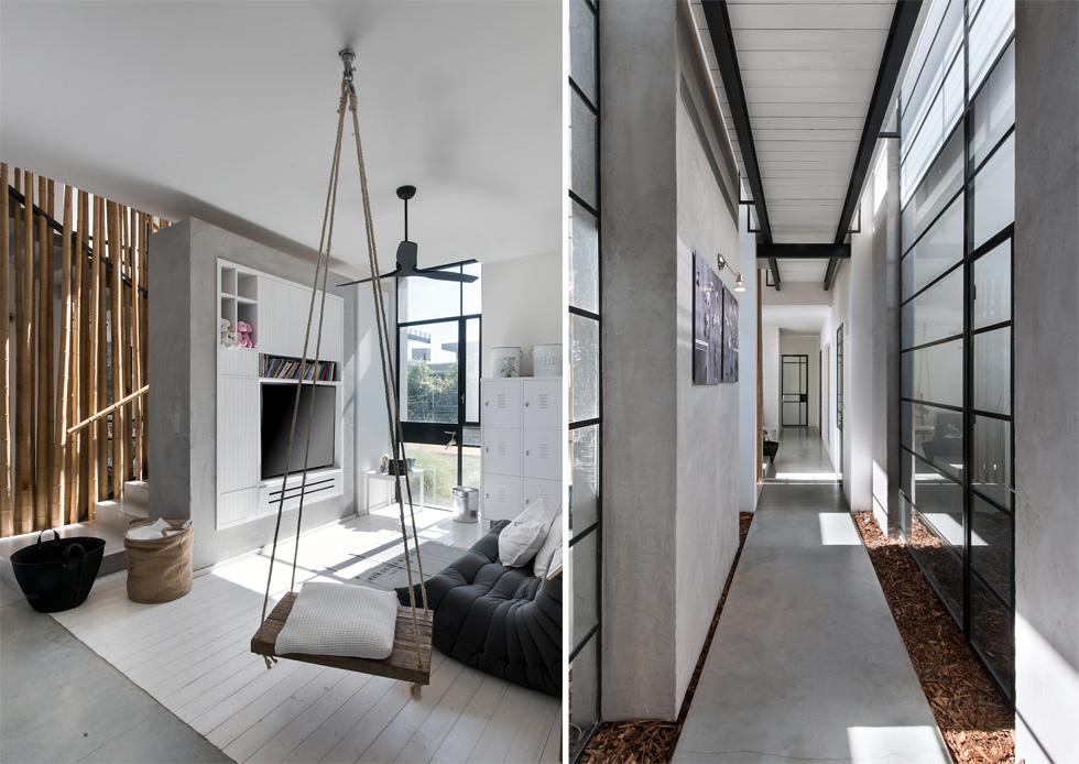 מימין: שביל הבטון שמחבר בין חלקי הבית, תחום בחלונות מצד אחד, קיר בלוקים מצד שני וקליפות עצים שפוזרו על הרצפה. משמאל: חדר המשפחה (צילום: עמית גושר)