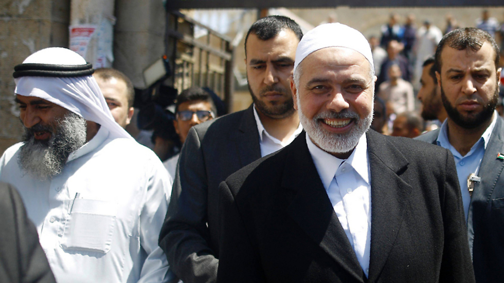 Ismail Haniyeh leaving the mosque after his speech Friday (Photo: AFP) (Photo: AFP)