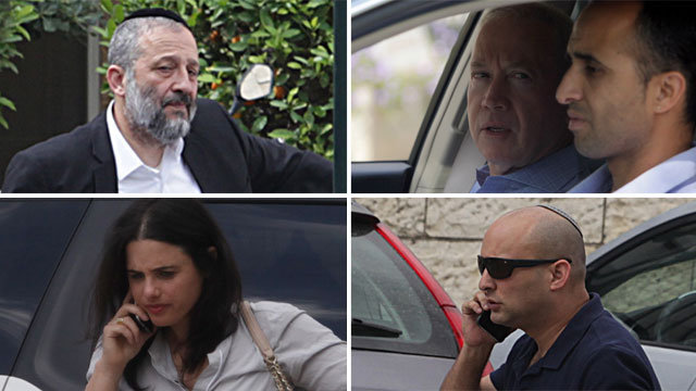 (Clockwise from top left:) Ministers Deri, Galant, Bennett and Shaked en route to Friday's cabinet meeting (Photo: Gil Yohanan) (Photo: Gil Yohanan)