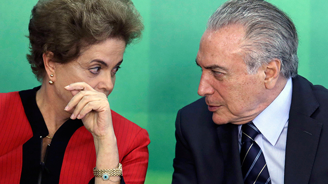 Suspended Brazil President Dilma Rousseff with Acting and Vice President Michel Temer (Photo: AP)
