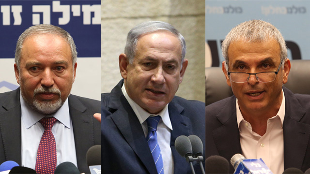 Yisrael Beytenu leader Avigdor Lieberman, Prime Minister Benjamin Netanyahu and Finance Minister Moshe Kahlon - right to left (Photo: Gil Yohanan, Amit Shavi)