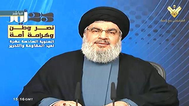 Nasrallah giving the speech from his bunker