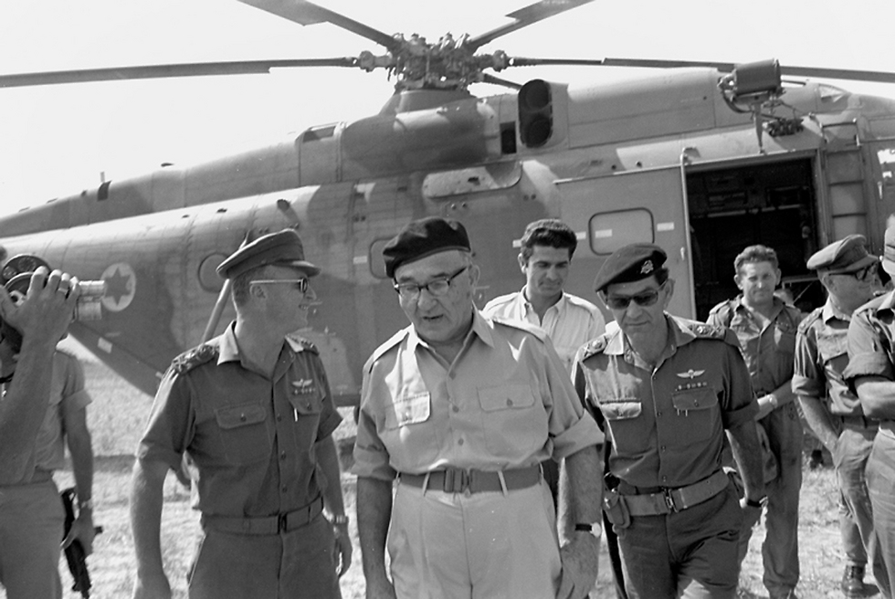 Dado, Eshkol, and Rabin on the Golan Heights after the Six Day War (Photo: IDF Archieves in the Ministry of Defense and Bamachane)