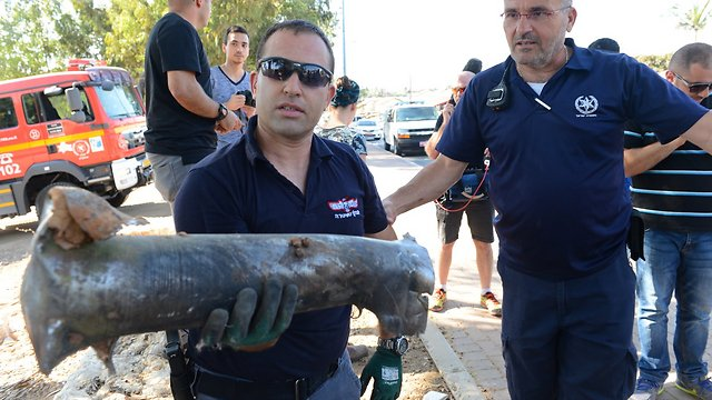Rocket which fell in Sderot (Photo: Avi Rokeah)