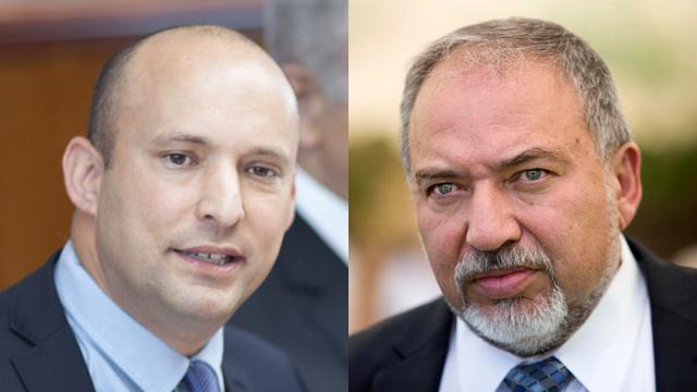 Naftali Bennett and Avigdor Lieberman (Photo: AP and EPA)