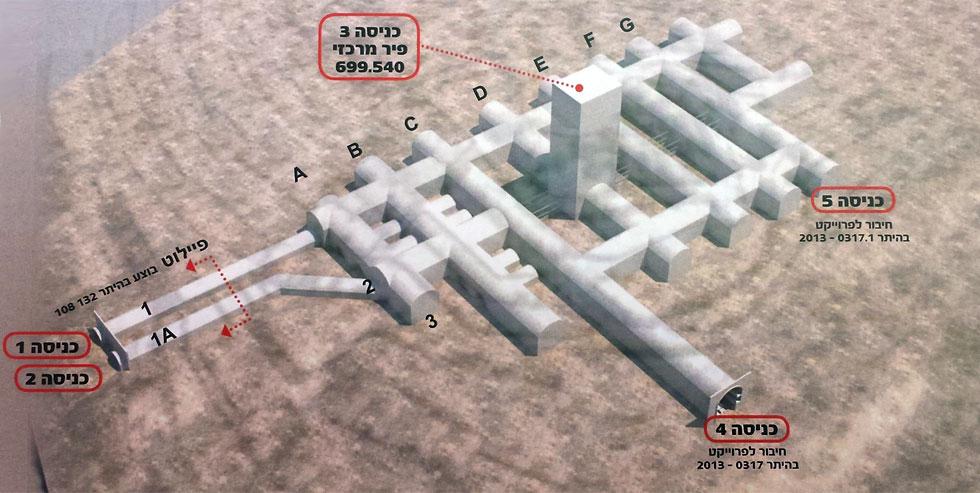 הדמיה של עיר המנהרות במבט מלמעלה: הפיר נמצא במרכז. הפתחים שנראו בתצלום הקודם נראים כאן משמאל. רשת המנהרות תוכל לשמש כ-22 אלף מתים, ובכך להספיק ל-12 שנים ממוצעות בירושלים (צילום: גיא נרדי)