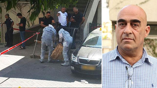 סלמאן עאמר, ראש המועצה, וזירת הירי (צילום: אלעד גרשגורן)