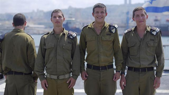 From the right: Imri Katz, Arad Cohen, Ohav Givati and First Lieutenant A. (Photo: IDF Spokesperson's Office)