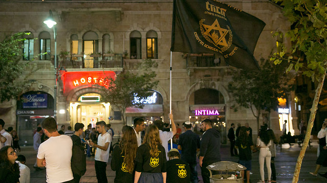 Lehava members at Zion Square in Jerusalem (Photo: Ohad Zwigenberg)