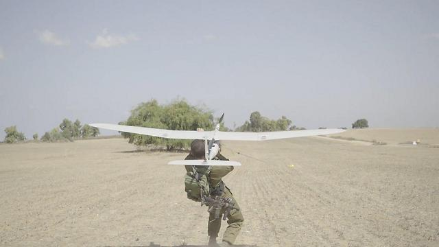 Launching the Skylark drone (Photo: IDF Spokesman's Office)