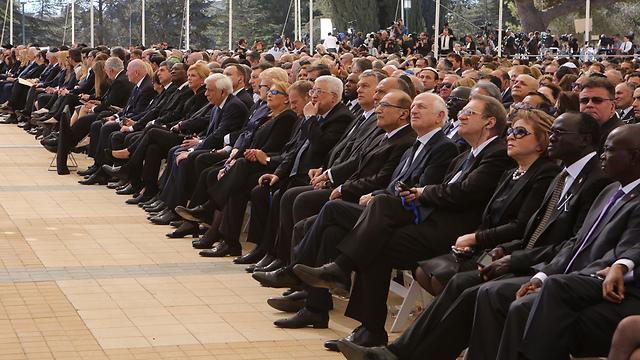 Palestinian President Abbas at the funeral (Photo: Gil Yohanan) (Photo: Gil Yohanan)