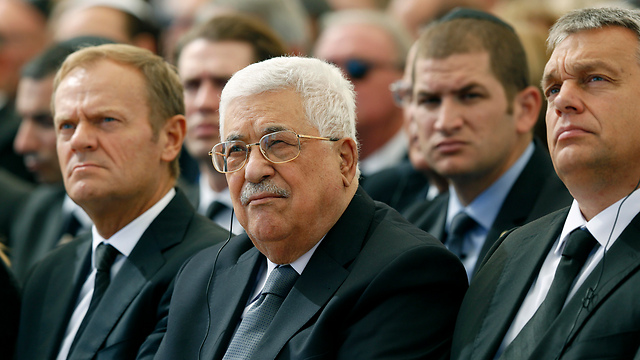 Palestinian President Abbas, center, flanked by Hungarian Prime Minister Viktor Orban, right, and President of the European Council Donald Tusk (Photo: AP)