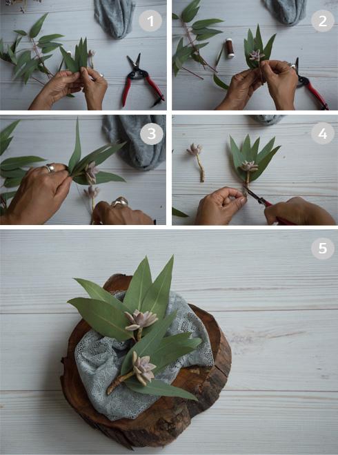 הכנת סידור צמחים למפיות (צילום: זוהר שרעבי)