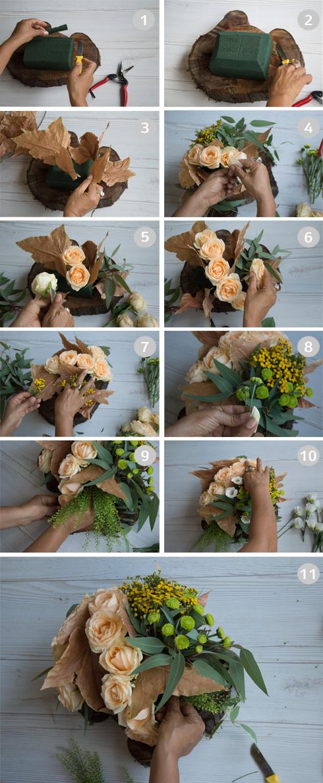 הכנת סידור פרחים סתווי למרכז השולחן (צילום: זוהר שרעבי)