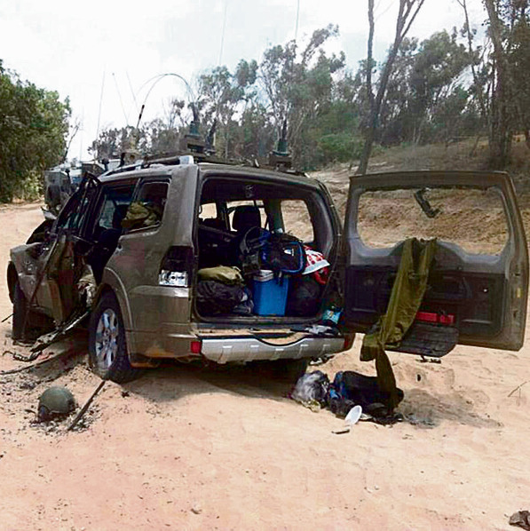 Col. Ifrah's jeep, damaged in the incident.