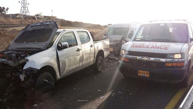 """התאונה הקטלנית ליד חורה, בדצמבר (צילום: דוברות מד""""א)"""