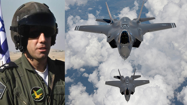 Lt. Col. Yotam and two F-35 jets (Photos: Roee Idan, MCT)