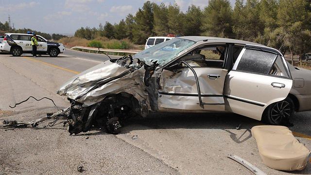 התאונה שבה נהרגה גלי מנטש (צילום: הרצל יוסף)