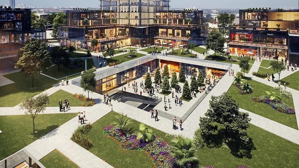 הדמיית מרכז העסקים החדש של קבוצת בסר בציר ז'בוטינסקי בפתח תקווה (3DVISION )