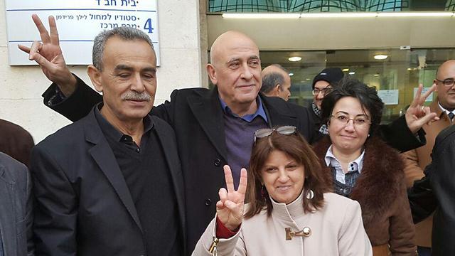 MKs Jamal Zahalka (L) and Hanin Zoabi (R) with MK Basel Ghattas