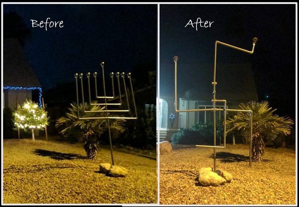 The Hanukkah menorah contorted into a swastika