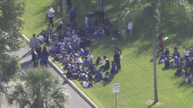 Children are evacuated from the Jewish community center (Photo: CBS)