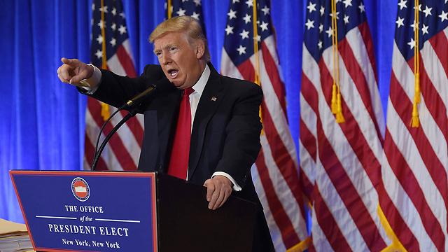 """""""שטות שפורסמה"""". טראמפ במסיבת העיתונאים (צילום: AFP)"""