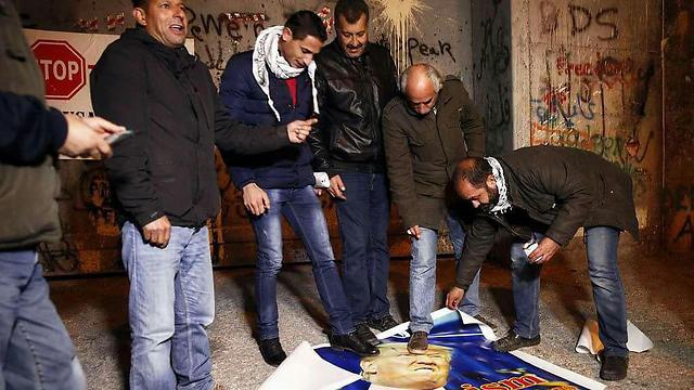 Palestinian protestors in Bethlehem