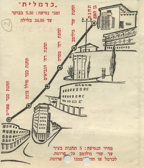 מפת הכרמלית כפי שפורסמה בשנות ה-50