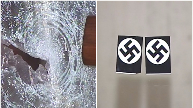 Stickers and shattered glass at Chicago Loop Synagogue (Photo: Network Video Productions) (Photo: Network Video Productions)