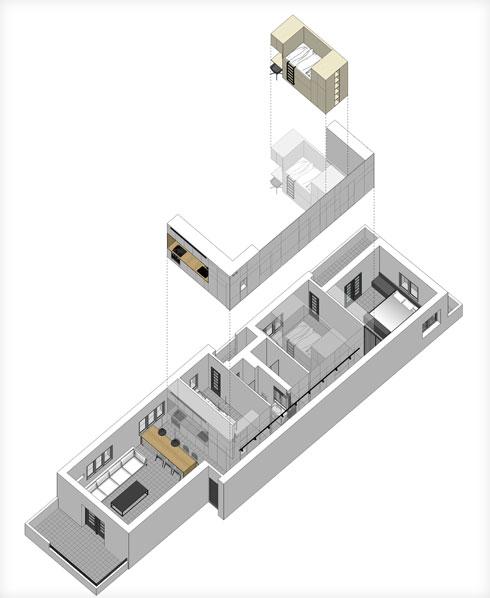שרטוט שמתאר את ''הלבשת'' הנגרות על המבנה הפנימי של הדירה (תוכנית: סטודיו XS architecture)
