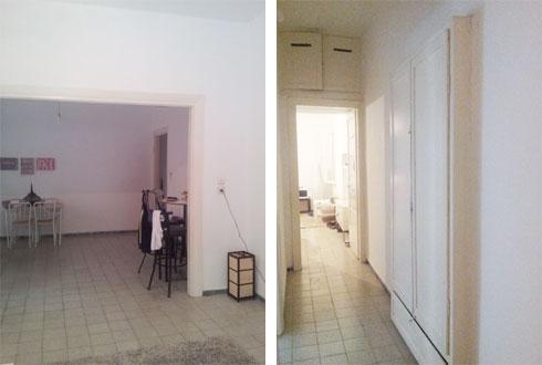 הסלון והמסדרון לפני השיפוץ (צילום: סטודיו XS architecture)