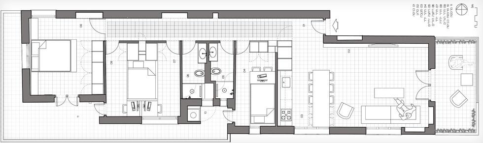 תוכנית הדירה לאחר השיפוץ. היא ארוכה וצרה, ונהנית משתי מרפסות - האחת יוצאת מהסלון לשדרה, והשנייה מקיפה את חדרי השינה. המטבח הישן הפך לחדרו של הילד הצעיר, שני חדרי רחצה ושירותים תוכננו על שטח חדר הרחצה הישן, וחדר גדול חולק לשניים, בעזרת רהיט רב שימושי (תוכנית: סטודיו XS architecture)