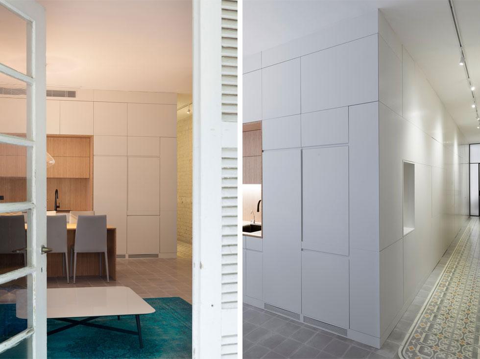 מימין: מסדרון מוביל מהמבואה אל החדרים. קיר של נגרות מסווה את הדלתות ואת הארונות הרבים. משמאל: מבט מהמרפסת אל הסלון והמטבח (צילום: גדעון לוין)