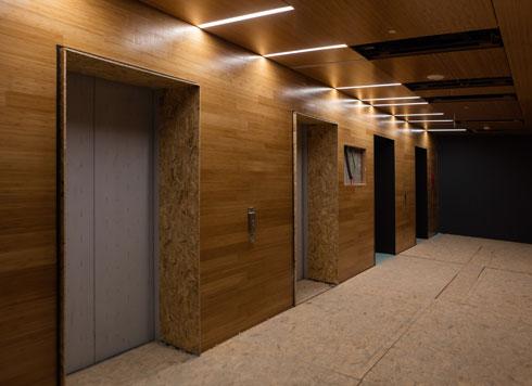 מעליות בגרעין המגדל. הטכנולוגיה איפשרה להאיץ את הבנייה של פיר המעלית (צילום: אינסה ביננבאום)