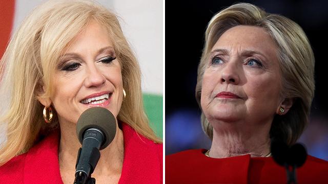 Conway (L) and Clinton (Photos: AFP)