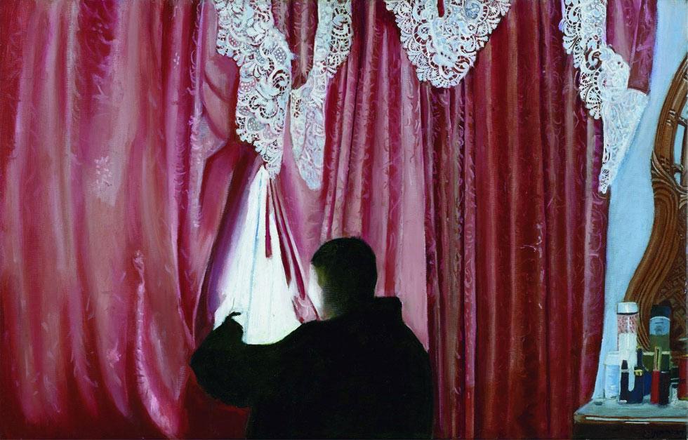 """""""המבט"""", דבורה מורג, מתוך התערוכה החדשה. """"ככל שנהניתי מהלימודים, נפשי הסתכסכה יותר ויותר"""" (צילום: אבי אמסלם)"""