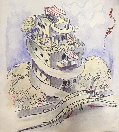 רמפה מסולסלת מובילה לחניון על הגג של בן סירה. מתוך החוברת הסאטירית (מתוך אוסף ארכיון אדריכלות ישראל, מגדל שלום מאיר תל אביב)